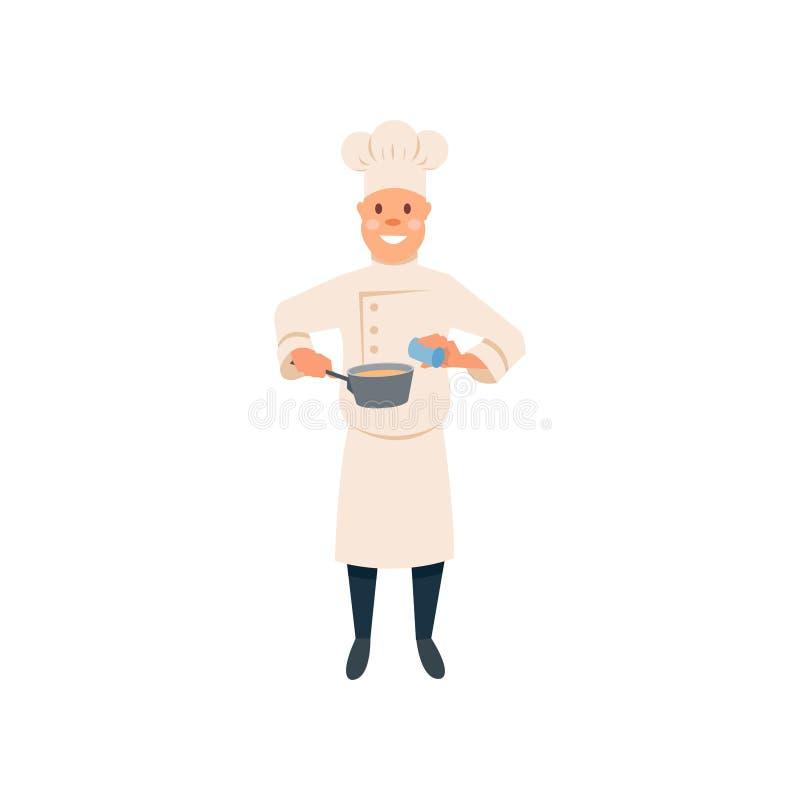 烹饪过程食物的厨师 动画片人字符调味料香料到平底锅里 传统制服的厨师有帽子的 皇族释放例证