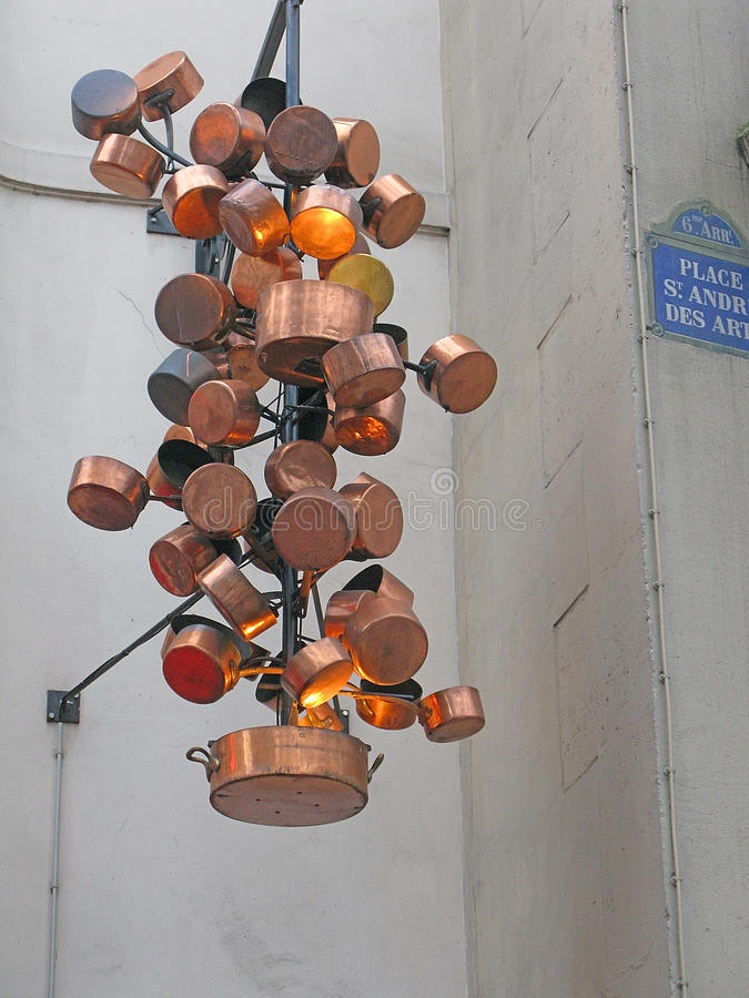 烹饪铜雕塑 库存照片