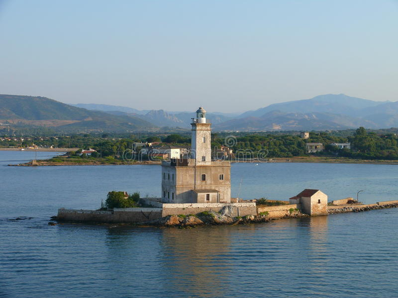 烽火台在奥尔比亚港口 库存图片