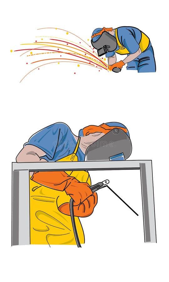 焊接工作者 向量例证