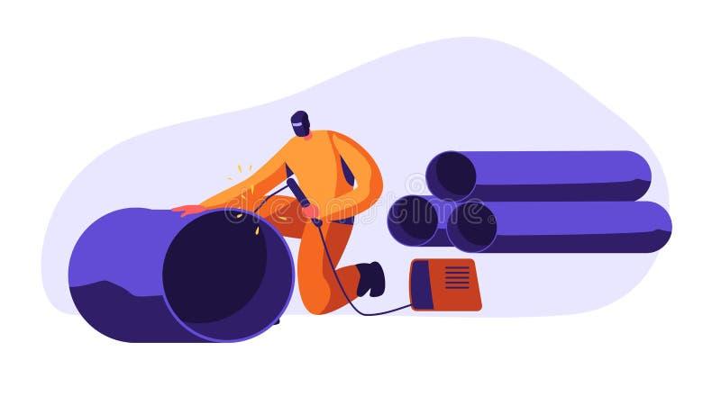 焊接的人钢管道系统在工业汽车工厂 保护面具和一致的焊接的钢的金属工业工作者 库存例证