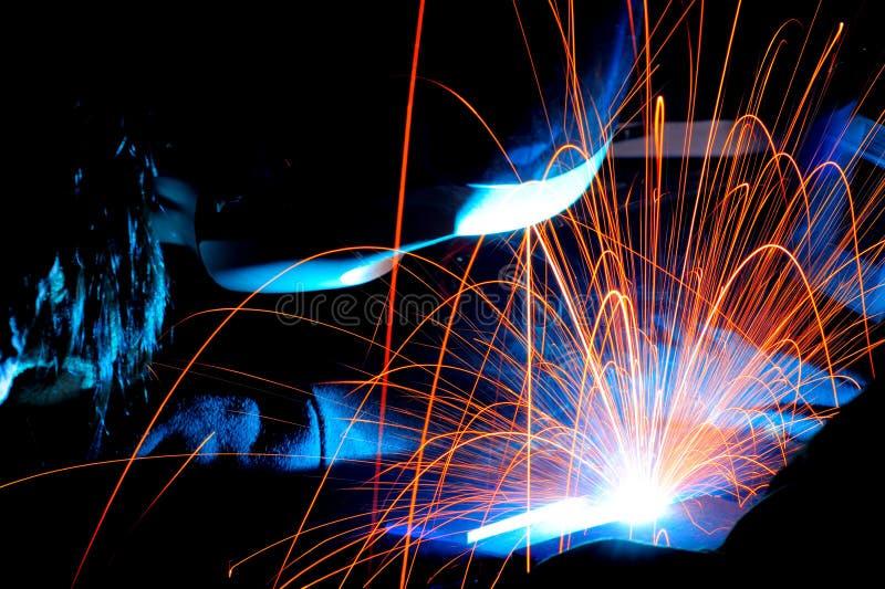 焊接的火花 免版税图库摄影