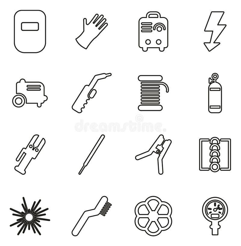 焊接象变薄线传染媒介例证集合 库存例证