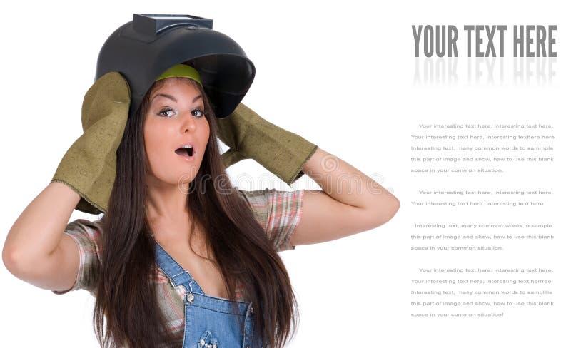 焊接面具的少妇 免版税库存图片