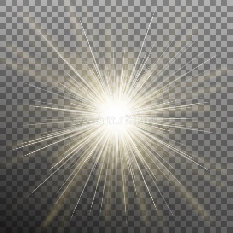 焕发光对透明背景的爆炸作用 EPS 10向量 向量例证