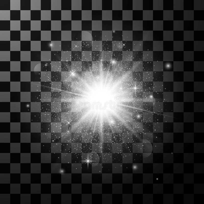 焕发光线影响元素 与闪闪发光的星爆炸在黑暗的透明背景 也corel凹道例证向量 皇族释放例证