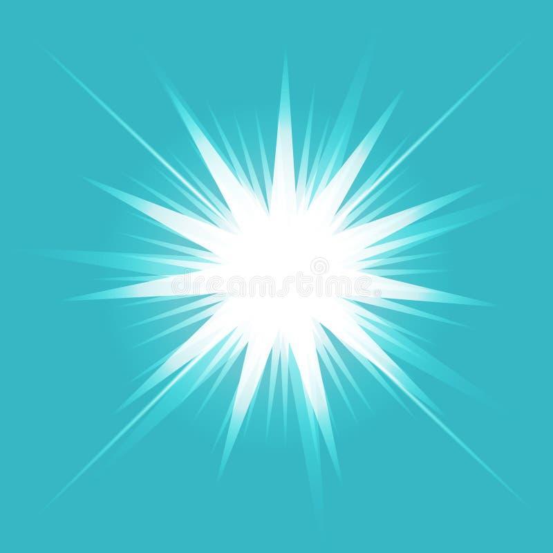 焕发光线影响 与闪闪发光的Starburst在透明背景 也corel凹道例证向量 晒裂 库存例证