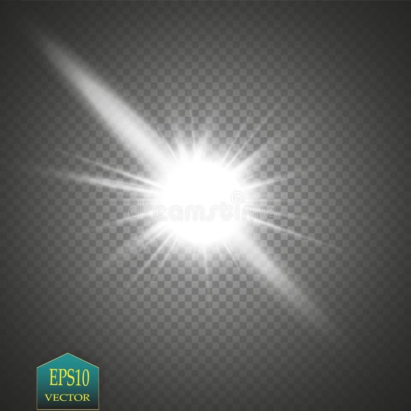 焕发光线影响 与闪闪发光的Starburst在透明背景 也corel凹道例证向量 向量例证