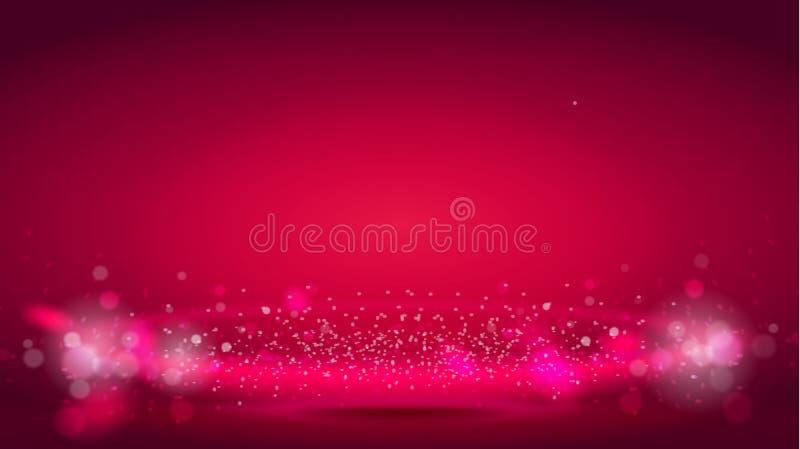 焕发在红色bokeh背景的光波或光气氛 抽象装饰元素为设计使用 明亮的辐形 库存例证