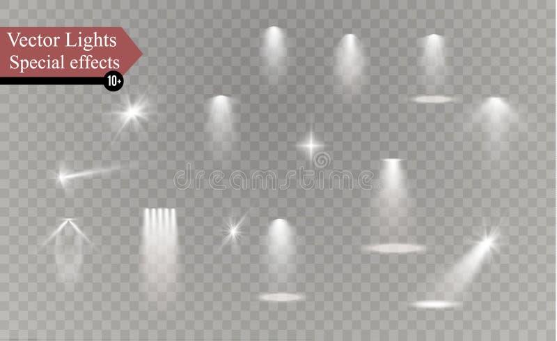 焕发隔绝了白色透明光线影响集合、透镜火光、爆炸、闪烁、线、太阳闪光、火花和星 皇族释放例证