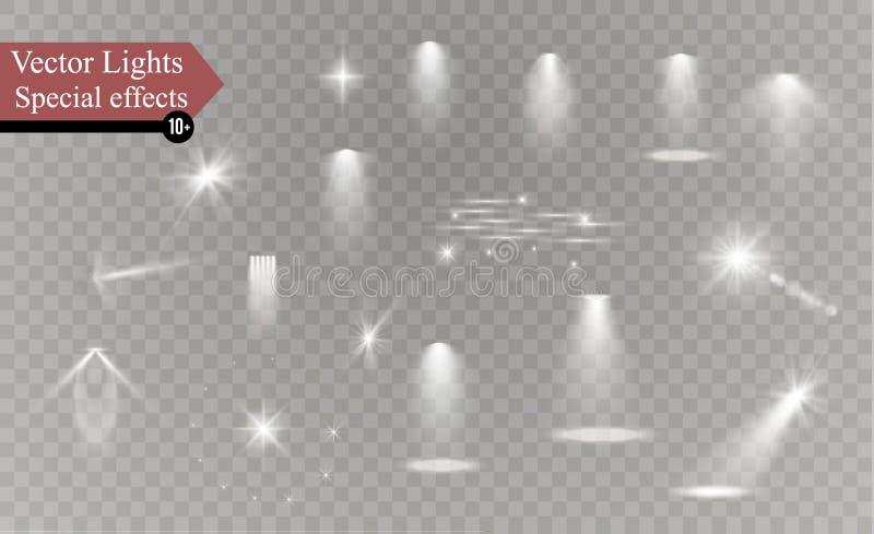 焕发隔绝了白色透明光线影响集合、透镜火光、爆炸、闪烁、线、太阳闪光、火花和星 库存例证