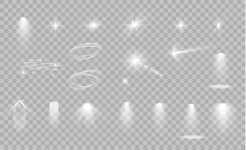 焕发隔绝了白色透明光线影响集合、透镜火光、爆炸、闪烁、线、太阳闪光、火花和星 向量例证