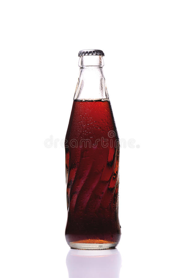焦炭瓶冷玻璃杯  免版税图库摄影