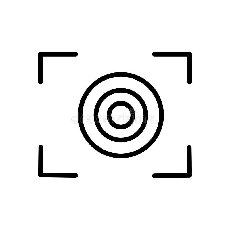 焦点在白色背景、焦点标志、线和概述元素隔绝的象传染媒介在线性样式 向量例证