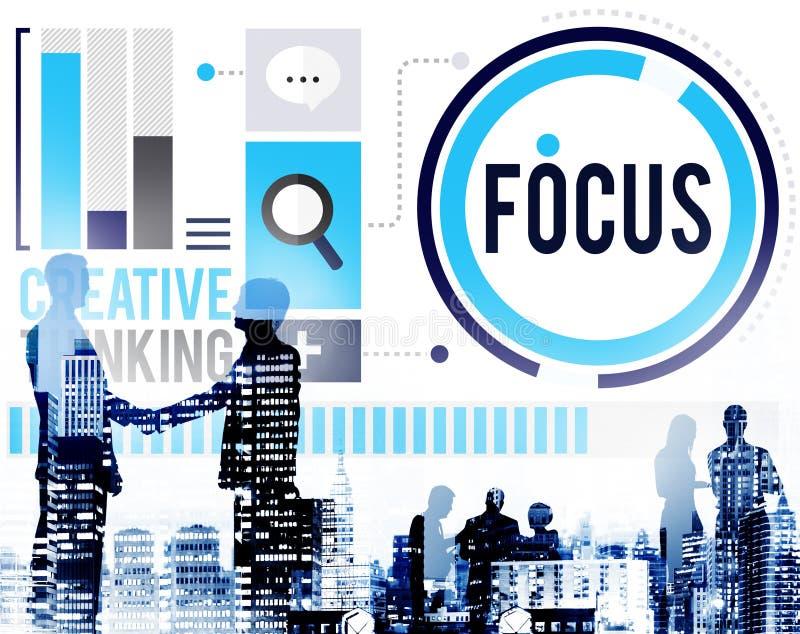 焦点集中定义目标点概念 免版税库存图片