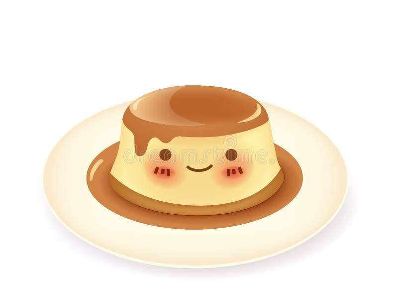 焦糖乳蛋糕布丁 向量例证