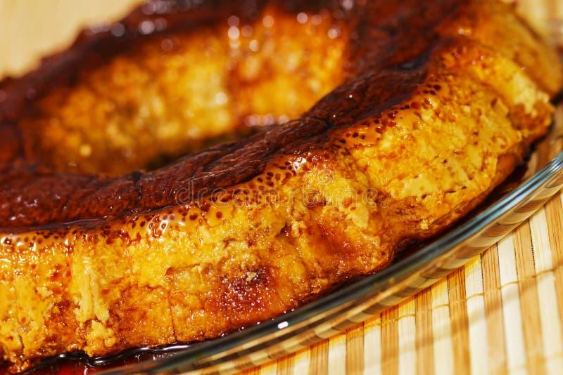 焦糖乳蛋糕,果馅饼。卡拉梅尔糖 免版税库存照片