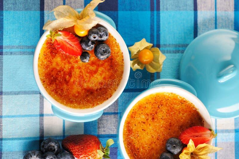 焦糖奶油(奶油色brulee,被烧奶油) 免版税图库摄影