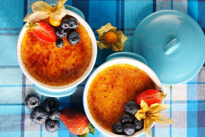 焦糖奶油(奶油色brulee,被烧奶油) 免版税库存图片