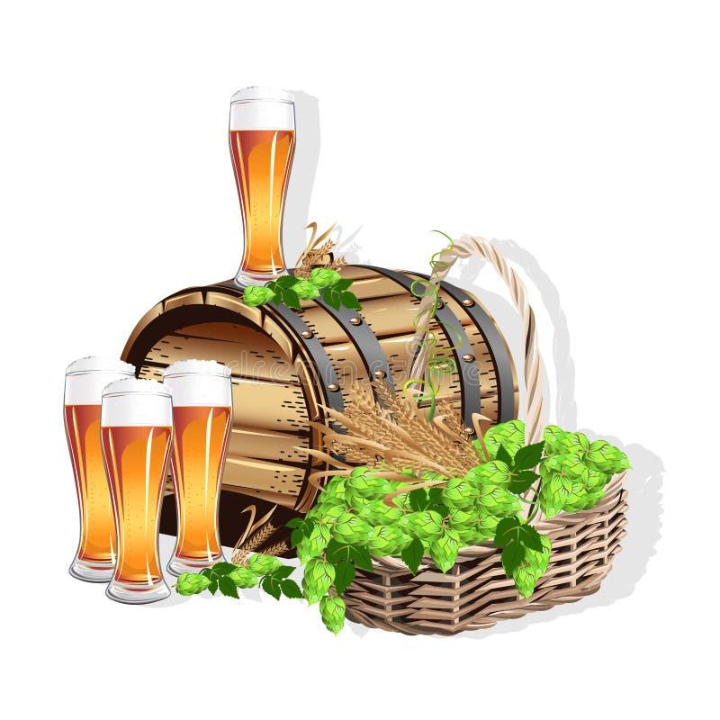 仍然啤酒生活 向量例证