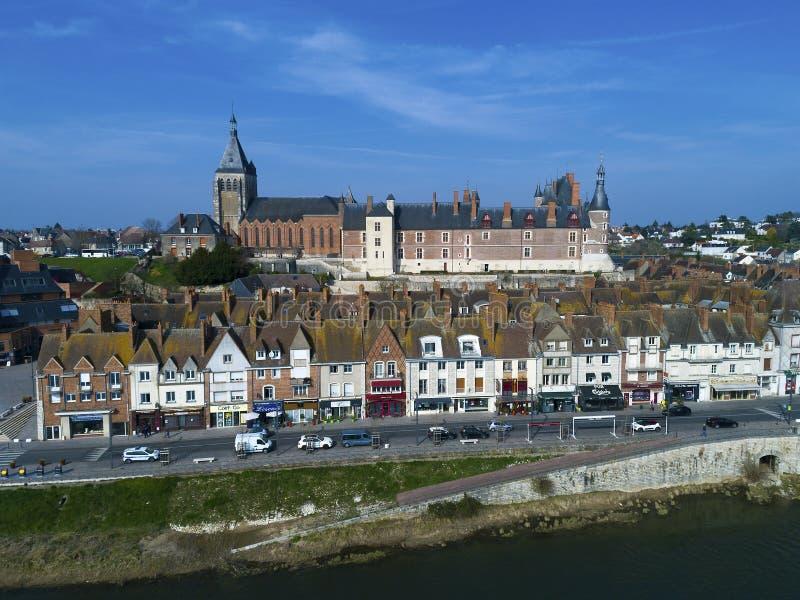 然镇,卢瓦雷省,中心瓦尔de卢瓦尔河城堡  库存照片