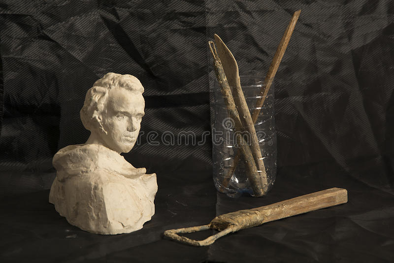 仍然1寿命 雕刻家的工具 库存照片