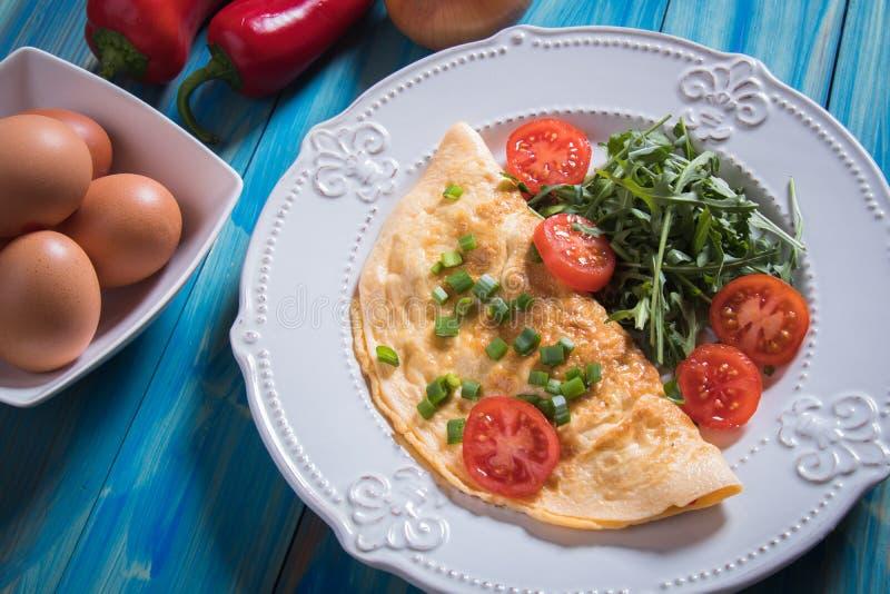 煎蛋卷,炸鸡鸡蛋 免版税库存照片