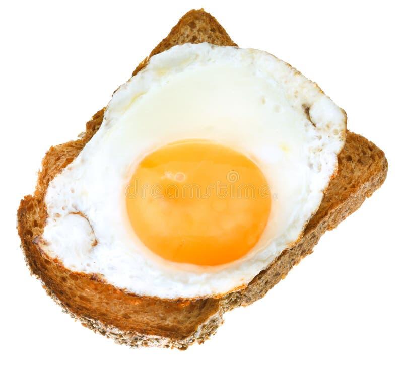 从煎蛋和敬酒的黑麦面包的三明治 图库摄影