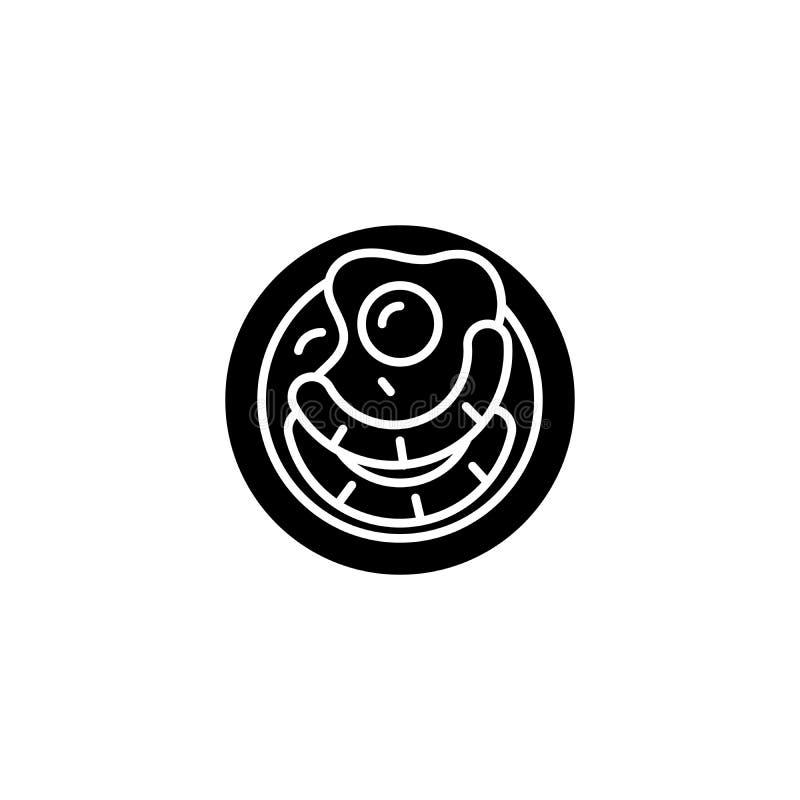 煎蛋香肠黑象概念 煎蛋香肠平的传染媒介标志,标志,例证 皇族释放例证