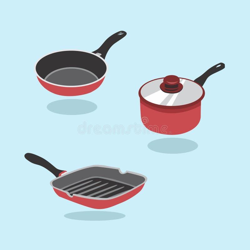 煎锅传染媒介集合 一套烹调的厨房项目 平底锅,平底深锅,煎锅 库存例证