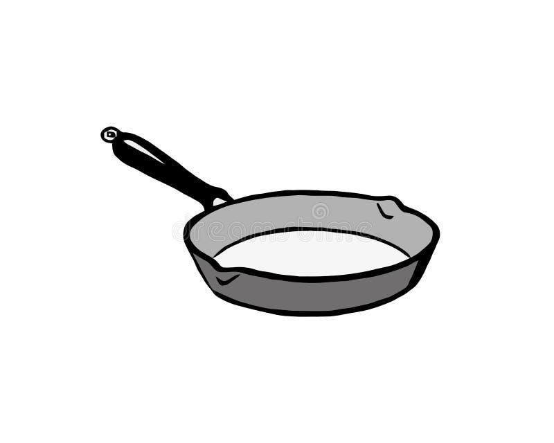 煎锅手拉的概述乱画象 油煎的食物平底锅在热传染媒介印刷品,网,流动的剪影例证和 向量例证