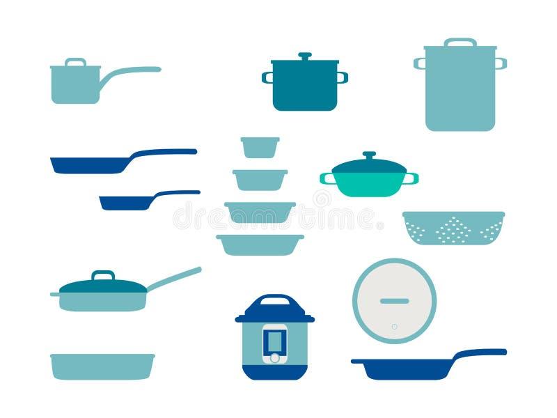 煎锅炊具厨具的集合、汇集和炊具套家庭烹饪的,平的传染媒介例证厨房用具 皇族释放例证