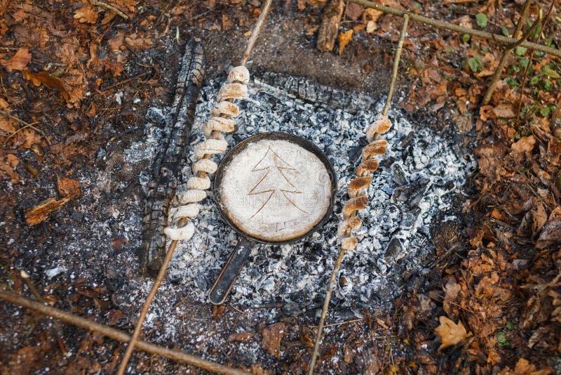 煎锅用在火的煤炭的面包在春天森林 库存图片