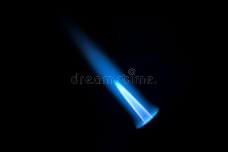 煤气喷燃器火焰 在黑backgroung隔绝的蓝色火,特写镜头 库存图片