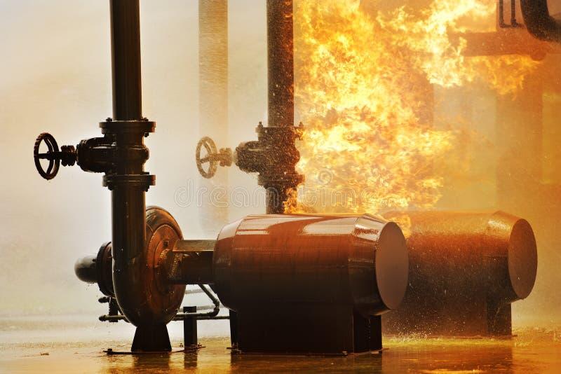 从煤气管的火 免版税库存照片
