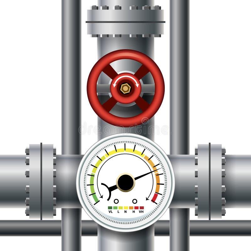 煤气管阀门,压力米 皇族释放例证