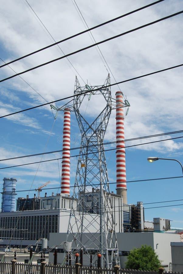 煤炭发电厂上升暖流 库存图片
