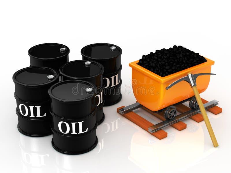 煤炭和油桶 库存例证