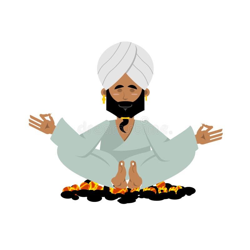 煤炭的信奉瑜伽者 印地安信奉瑜伽者坐热的煤炭 凝思瑜伽 向量例证