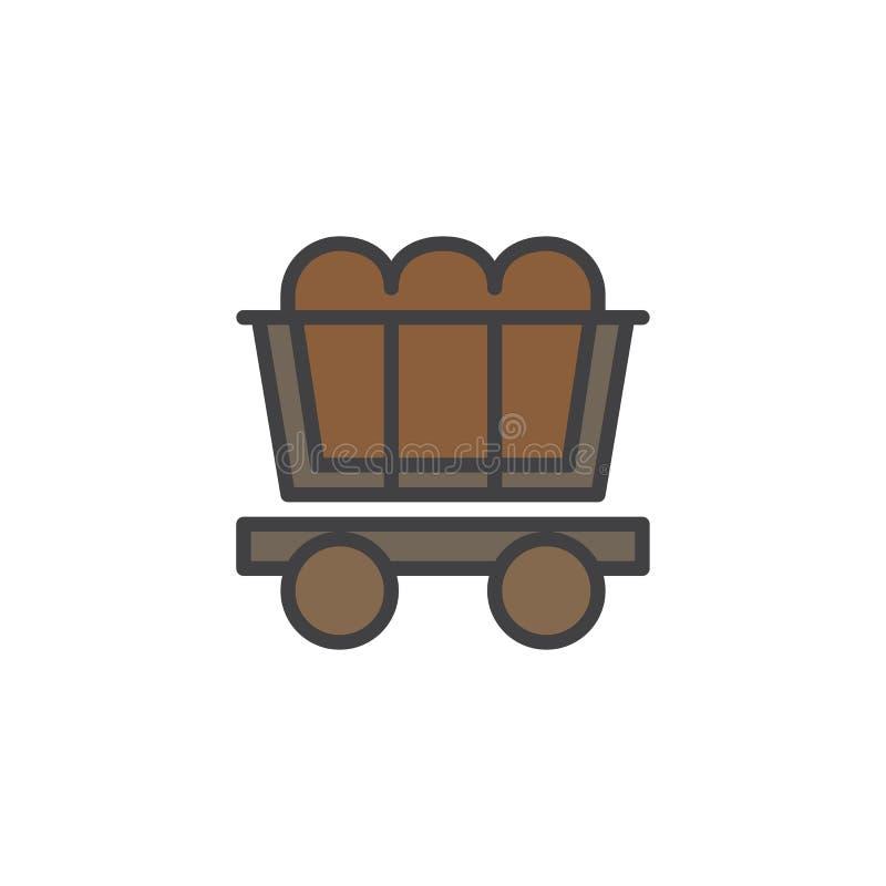 煤矿业的推车被填装的概述象 库存例证
