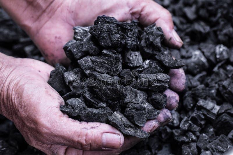 煤矿业-供以人员拿着backgr的手自然黑木炭 库存照片