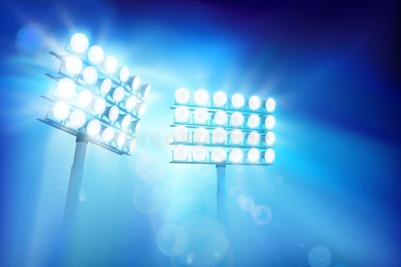 照亮体育场的泛光灯 抽象向量例证 向量例证