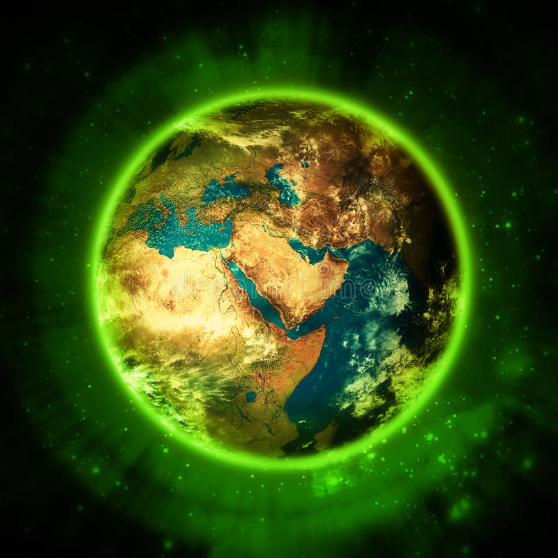 照亮绿色行星地球-绿色生活 向量例证
