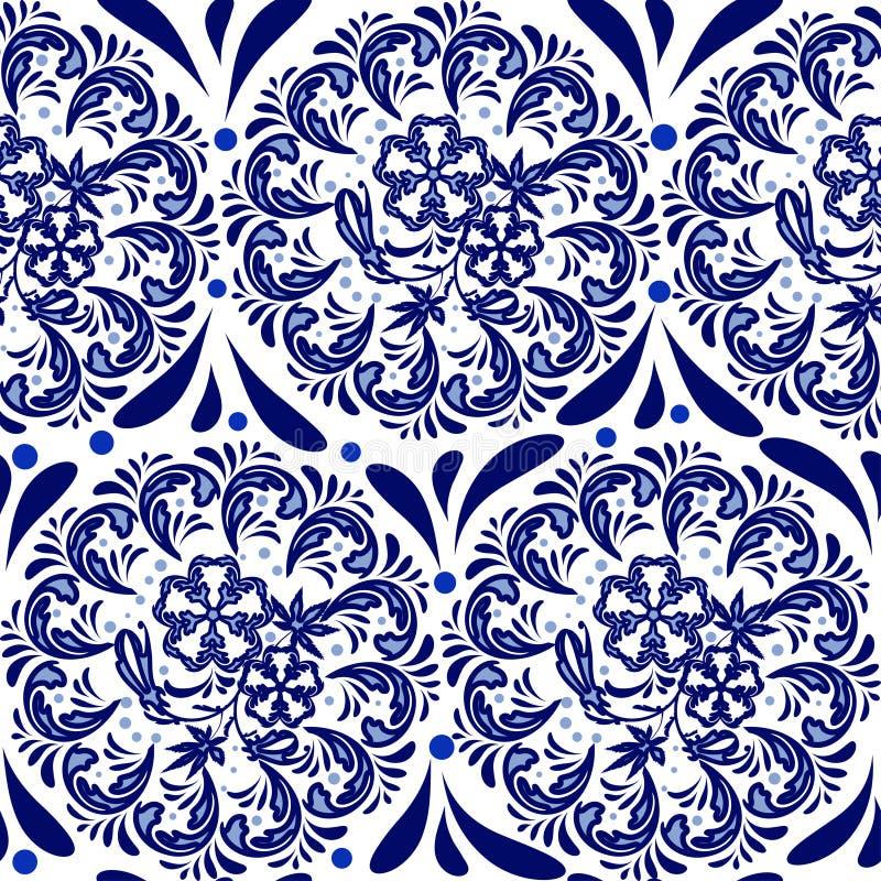 仿照俄国全国样式gzhel样式的蓝色无缝的样式 花圆样式坛场在白色背景的 库存例证