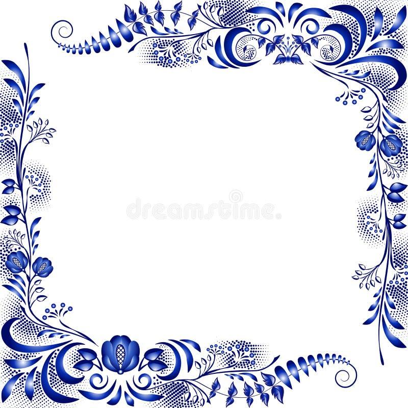 仿照全国瓷绘画样式的壁角设计元素 模板贺卡或邀请与蓝色花 库存例证