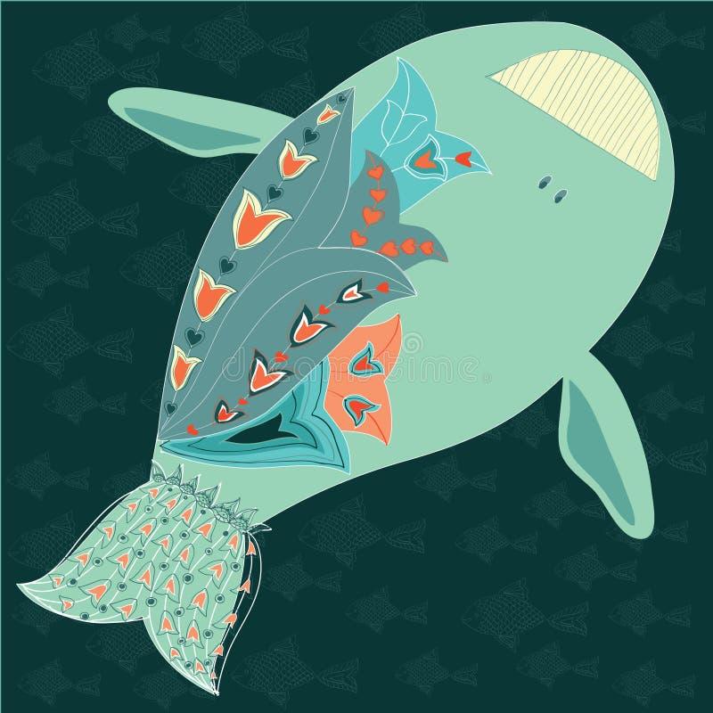 仿照动画样式的滑稽的鲸鱼 免版税库存照片