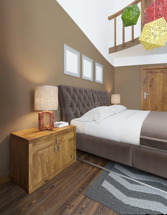 仿照当代床头柜样式的现代卧室与 皇族释放例证