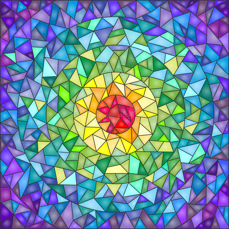 仿照彩色玻璃样式的抽象背景,仿制玻璃崩裂了 免版税库存图片