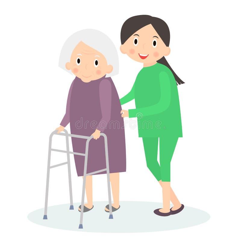 照料前辈,帮助的移动 年长关心 也corel凹道例证向量 免版税图库摄影