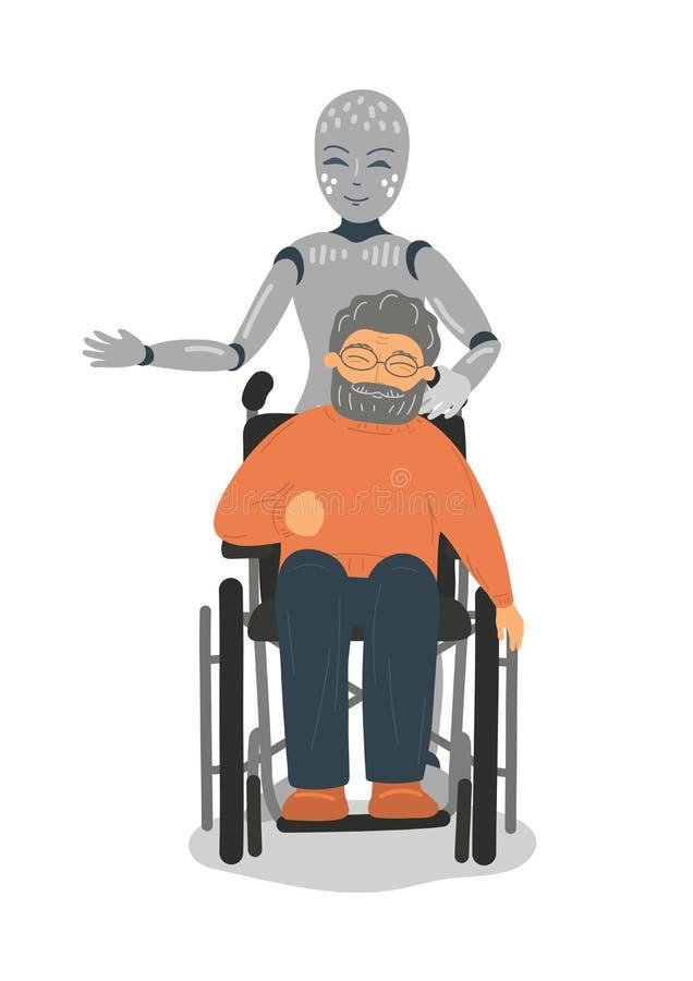 照料轮椅的残疾老人的机器人 向量例证